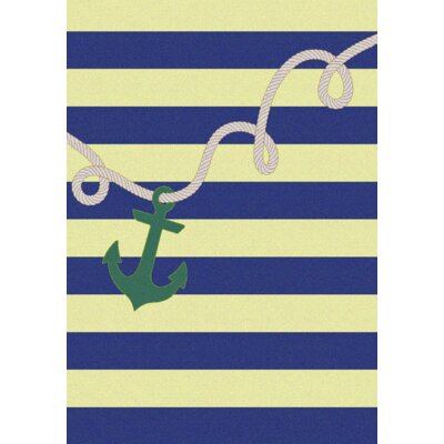 Coastal Rope and Anchor Mint Area Rug Rug Size: 3 x 4
