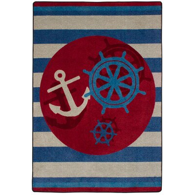 Coastal Ahoy There Nautical Area Rug Rug Size: Round 8