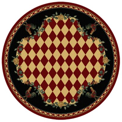 Novelty High Country Rooster Red/Green Area Rug Rug Size: Round 8