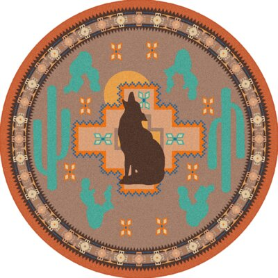National Park Howl at the Moon Desert Rose Area Rug Rug Size: Round 8