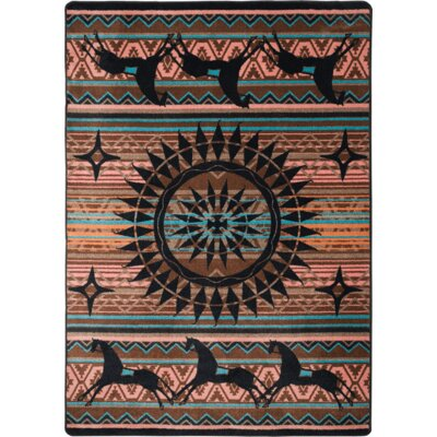 Johnny D Ghost Rider Turquoise Area Rug Rug Size: Rectangle 3 x 4