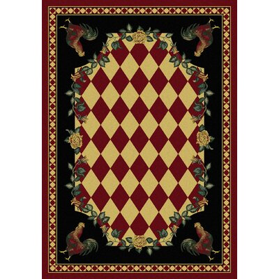 Novelty High Country Rooster Red/Green Area Rug Rug Size: 4 x 5