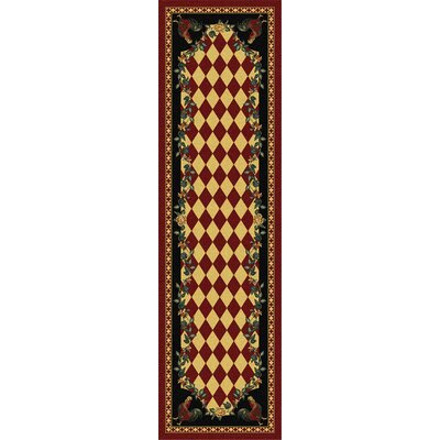 Novelty Synthetic Red/Black Area Rug Rug Size: Runner 2 x 8