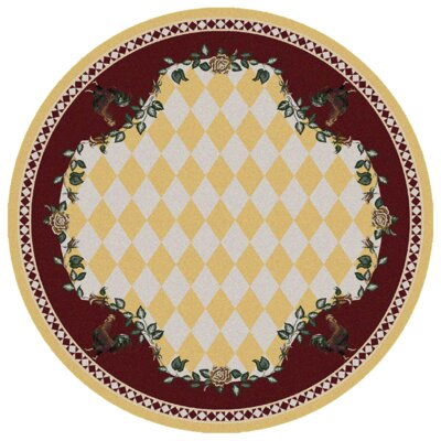 Novelty High Country Rooster Yellow Area Rug Rug Size: Round 8