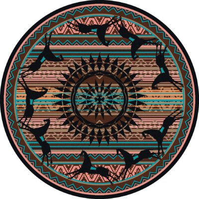 Johnny D Ghost Rider Turquoise Area Rug Rug Size: Round 8
