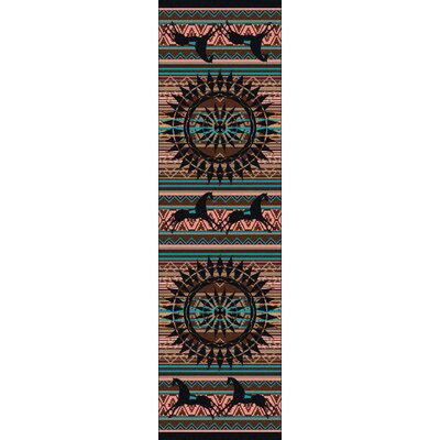 Johnny D Ghost Rider Turquoise Area Rug Rug Size: Runner 2 x 8