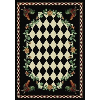 Novelty High Country Rooster Black Area Rug Rug Size: 8 x 11