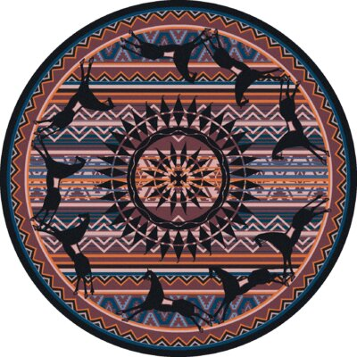 Johnny D Ghost Rider Plum Area Rug Rug Size: Round 8