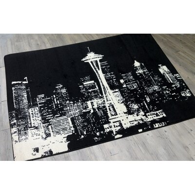 Novelty Cityscape Black/White Area Rug