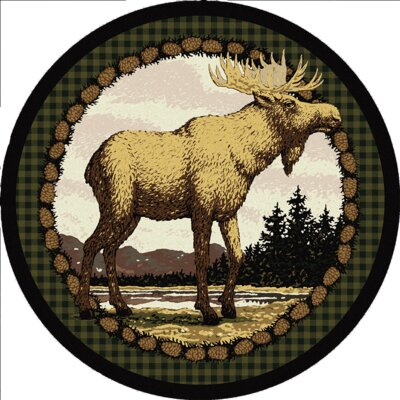 Novelty Majestic Moose Biege/Brown Area Rug