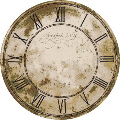 Novelty New York Clock Distressed Beige Area Rug