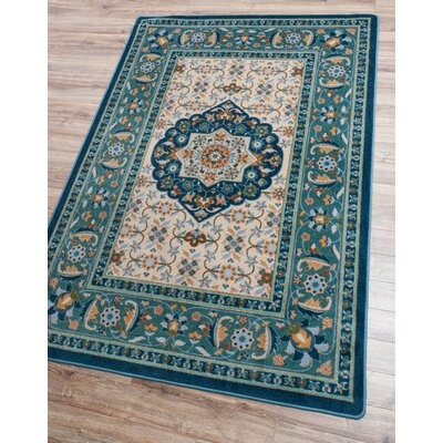 Robert Caine Bristol Worn Navy/Beige Area Rug Rug Size: Rectangle 4 x 5