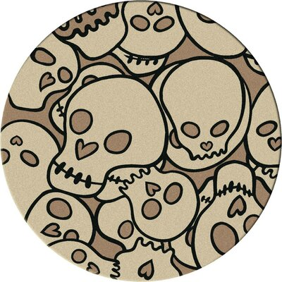 Motorhead Head Banger Natural Area Rug Rug Size: Round 8