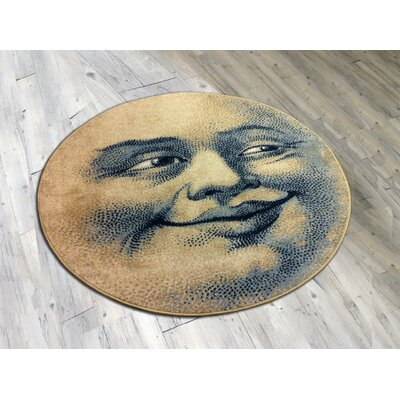 Novelty Moon Face Light Area Rug