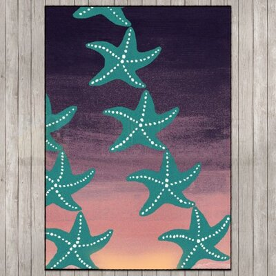 Coastal Starry Night Sunset Area Rug Rug Size: Rectangle 8 x 11