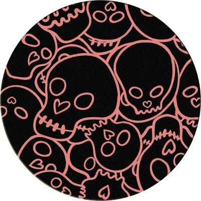 Motorhead Head Banger Pink Area Rug Rug Size: Round 8