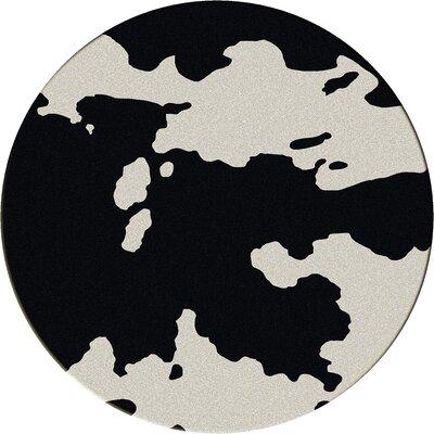 Motorhead Cowhide Black Area Rug Rug Size: Round 8