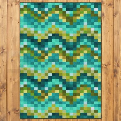 Coastal Spa Tiles Aqua Area Rug Rug Size: 3 x 4