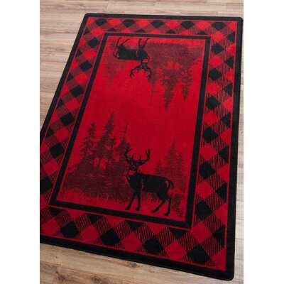 Cabarita Whitetail Plaid Red Area Rug Rug Size: Round 8