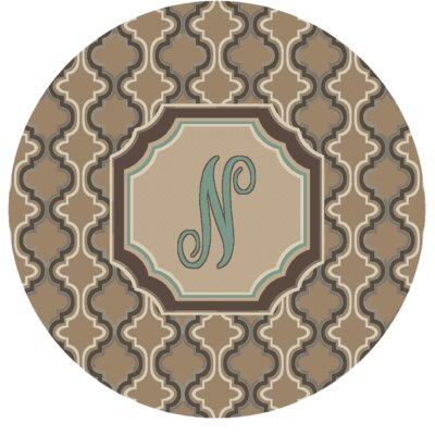 Lanikai Monogrammed Turquoise/Brown Area Rug Letter: N