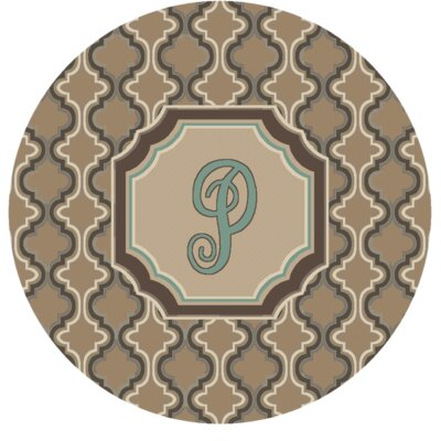 Lanikai Monogrammed Turquoise/Brown Area Rug Letter: P