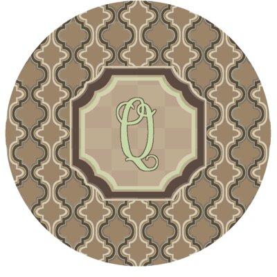 Lanikai Monogrammed Green/Brown Area Rug Letter: Q