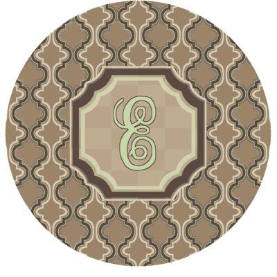 Lanikai Monogrammed Green/Brown Area Rug Letter: E