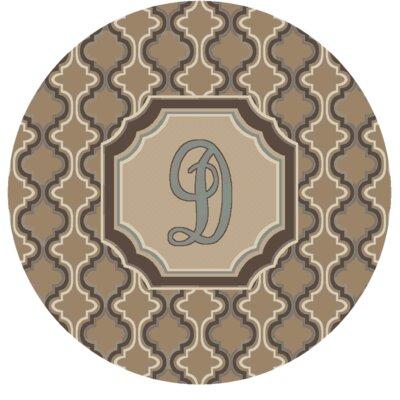 Lanikai Monogrammed Blue/Brown Area Rug Letter: D