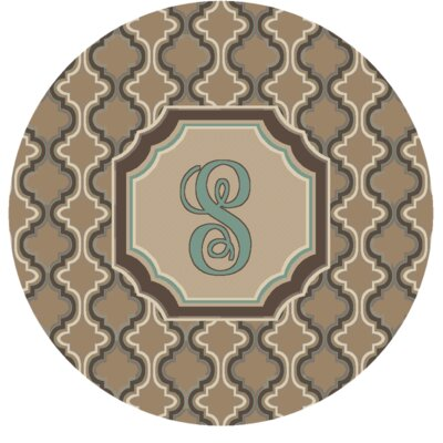 Lanikai Monogrammed Turquoise/Brown Area Rug Letter: S