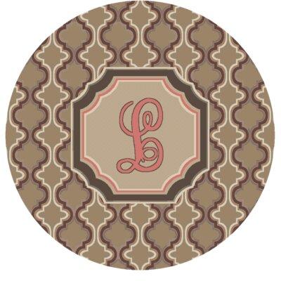 Lanikai Monogrammed Pink Area Rug Letter: L