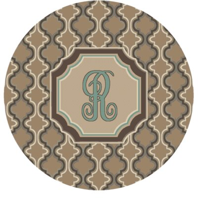 Lanikai Monogrammed Turquoise/Brown Area Rug Letter: R