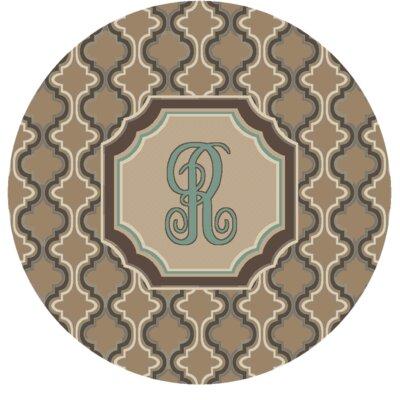 Lanikai Monogrammed Turquoise/Brown Area Rug Letter: R