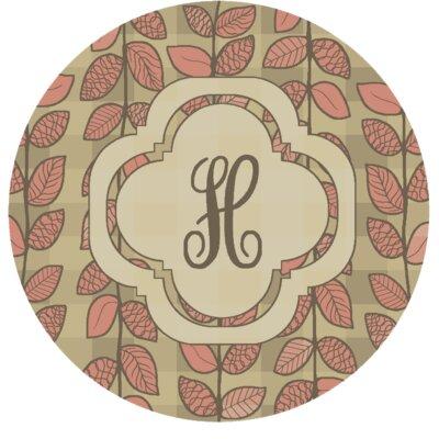 Happel Delicate Foliage Monogrammed Pink Area Rug Letter: H