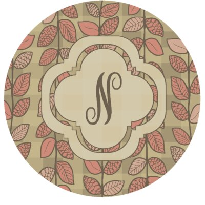 Happel Delicate Foliage Monogrammed Pink Area Rug Letter: N