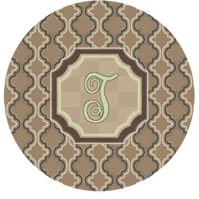 Lanikai Monogrammed Green/Brown Area Rug Letter: T