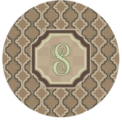 Lanikai Monogrammed Green/Brown Area Rug Letter: S