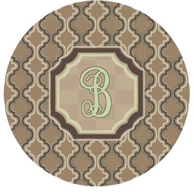 Lanikai Monogrammed Green/Brown Area Rug Letter: B