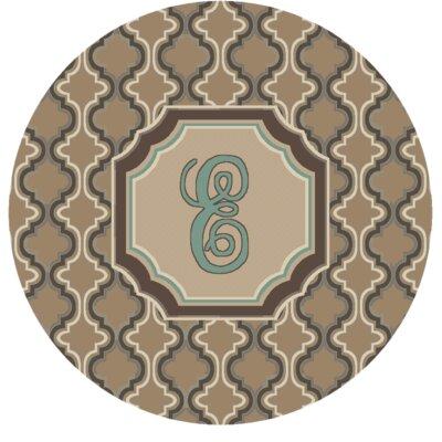 Lanikai Monogrammed Turquoise/Brown Area Rug Letter: E