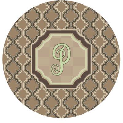 Lanikai Monogrammed Green/Brown Area Rug Letter: P