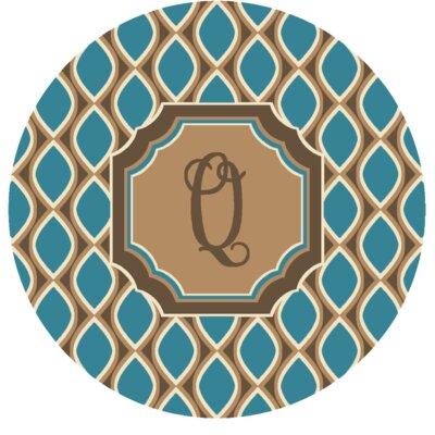 Hansley Monogrammed Blue Area Rug Letter: Q