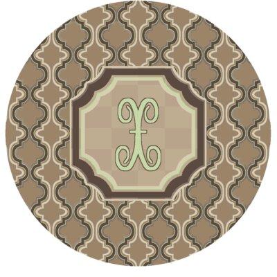 Lanikai Monogrammed Green/Brown Area Rug Letter: X