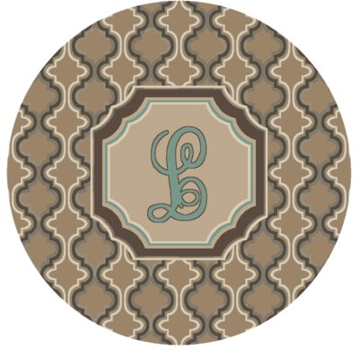 Lanikai Monogrammed Turquoise/Brown Area Rug Letter: L