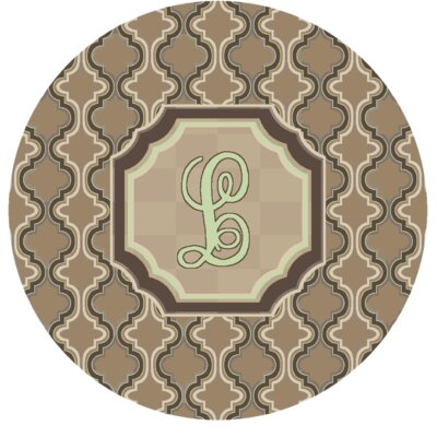 Lanikai Monogrammed Green/Brown Area Rug Letter: L