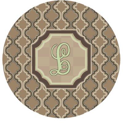 Lanikai Monogrammed Green/Brown Area Rug Letter: L