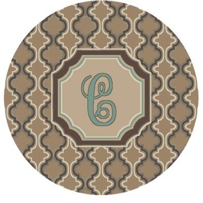 Lanikai Monogrammed Turquoise/Brown Area Rug Letter: C