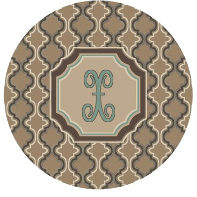 Lanikai Monogrammed Turquoise/Brown Area Rug Letter: X