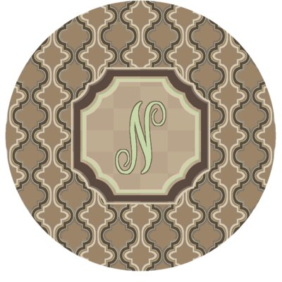 Lanikai Monogrammed Green/Brown Area Rug Letter: N