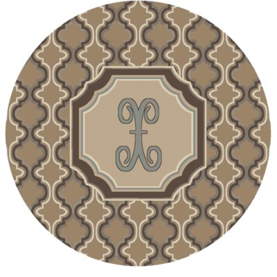 Lanikai Monogrammed Blue/Brown Area Rug Letter: X