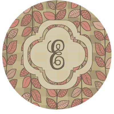 Happel Delicate Foliage Monogrammed Pink Area Rug Letter: E