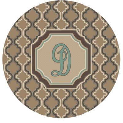 Lanikai Monogrammed Turquoise/Brown Area Rug Letter: D
